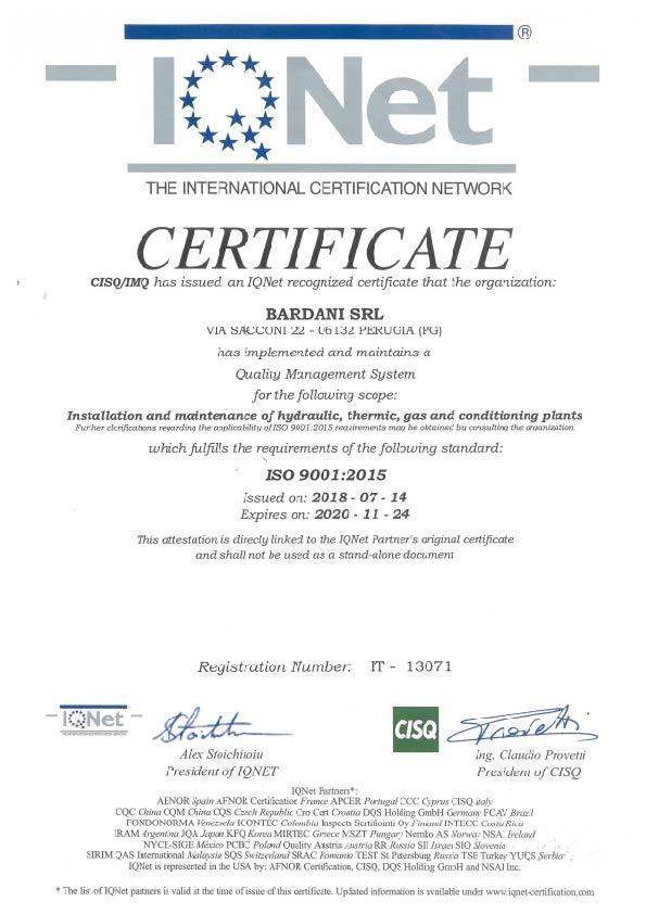 impianti termici bardani termoidraulica certificato iso9001